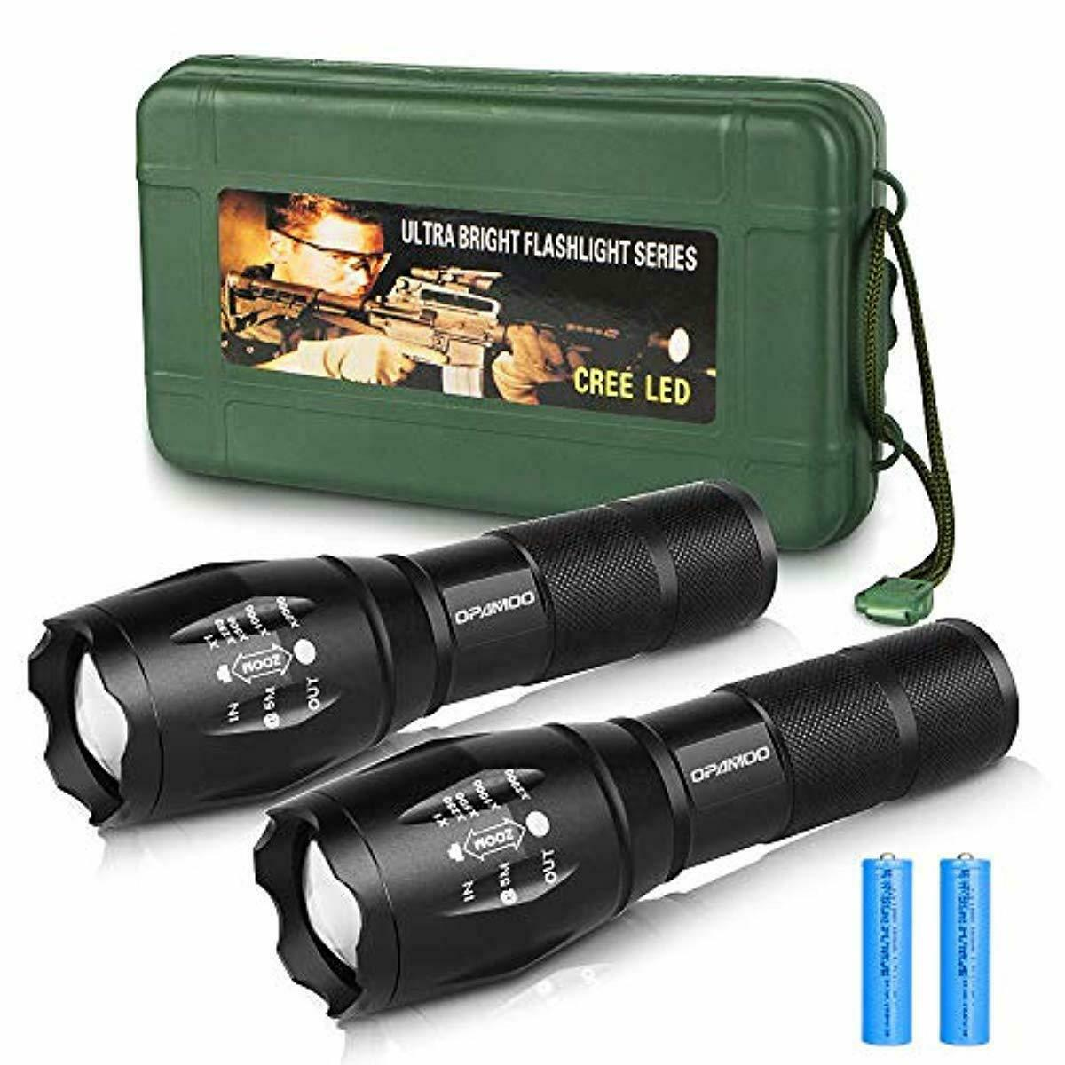 2PCS 900000LM High Power Zoom LED Flashlight Rechargeable Torch+Battery+Charger