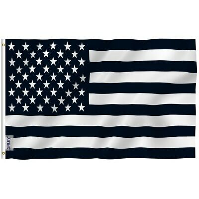 ANLEY Black And White American Flag Recession Banner Polyester 3x5 Foot Flags - Black And White Flag