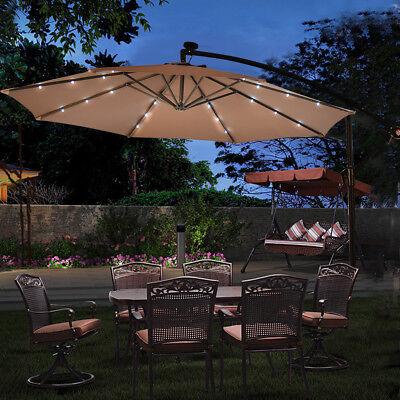 10' Hanging Solar LED Umbrella Patio Sun Shade Offset Market W/Base Tan