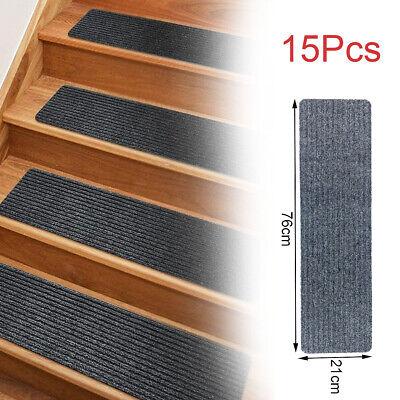 "30""x8"" Non-Slip Carpet Stair Treads Set for Runner Wood Stairs Cover 15pcs Gray"