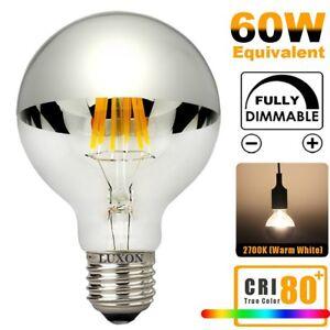 Half Chrome Light Bulb Dimmable LED Edison Bulb Silver Bowl Tipped Light Bulbs