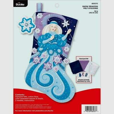 SNOW PRINCESS~Felt Christmas Stocking Kit~New Plaid Bucilla~Factory Direct Fairy - Factory Direct Crafts