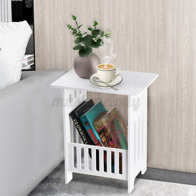 White Modern Bedside Table Bedroom Nightstand End Table Plant Stand Holder Rack