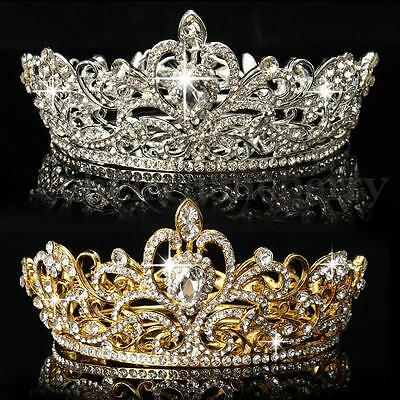 King Queen Crystal Rhinestone Crown Tiara Wedding Pageant Bridal Diamante - Queen Tiara