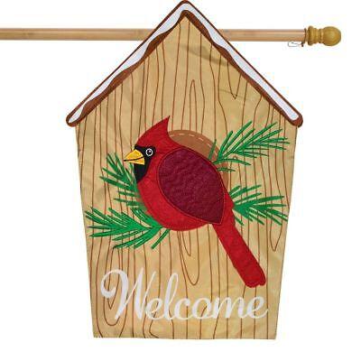 """Cardinal Birdhouse Winter Applique House Flag Seasonal Birds 28"""" x 40"""""""
