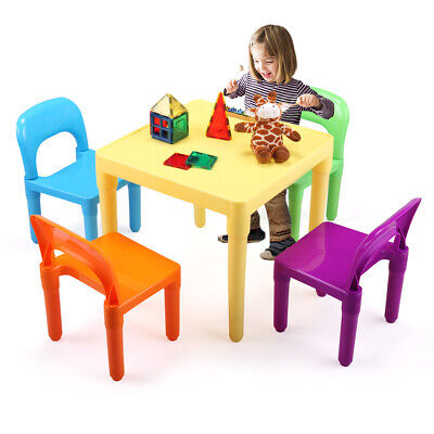 Toys Children's Multi-Coloured Table & 4Chairs Set Activity Furniture - Children's Activity Table