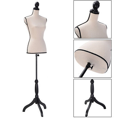 Beige Female Mannequin Torso Clothing Dress Display W Black Tripod Stand New