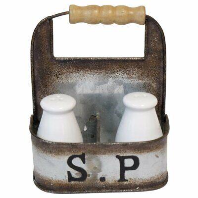 Vintage Kitchen Decor Milk Bottle Salt and Pepper Shakers in Vintage Tin Carrier Pepper Kitchen Decor
