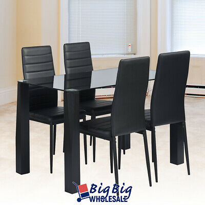 5PC Black Tempered Glass Top Dining Table 4 Leather Chairs Kitchen Furniture Set