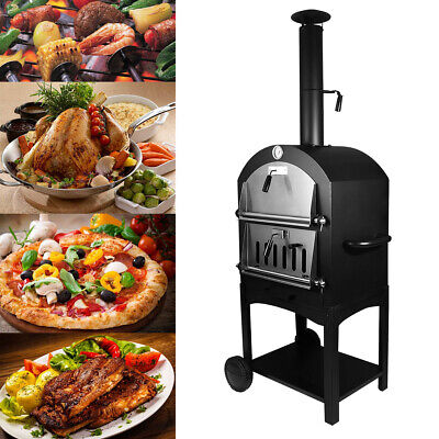 Outdoor Pizza Oven Charcoal Wood Burning Steel Fire Stones Baking Cooking Patio