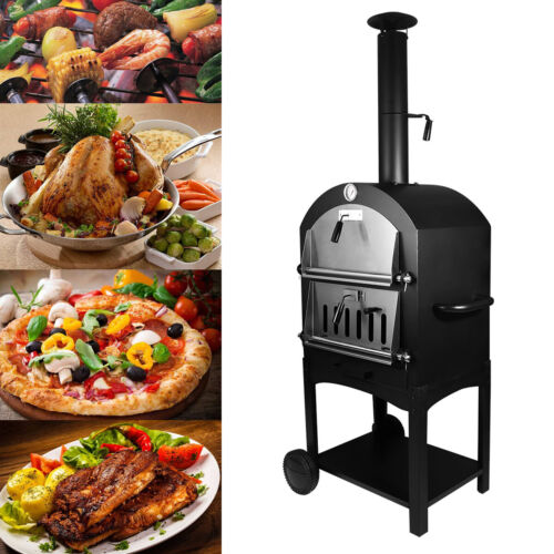 Outdoor Pizza Oven Charcoal Wood Burning Steel Fire Stones B