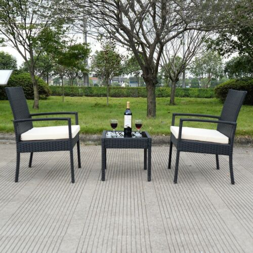 Rattan 3 Ps Outdoor Patio Furniture Set Backyard Garden Furniture Seat Cushioned