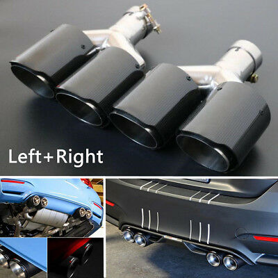 2xGlossy Carbon Fiber Car SUV Dual Pipe Left+Right Exhaust Pipe Tail Muffler Tip