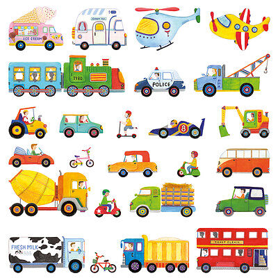 Decowall DW-1405 The Transports Nursery Kids Wall Stickers F