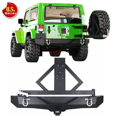 Jeep Bumper Tire Carrier - For 2007-2018 Jeep Wrangler JK Rear Bumper &Tire Carrier Rock Crawler D-rings HL