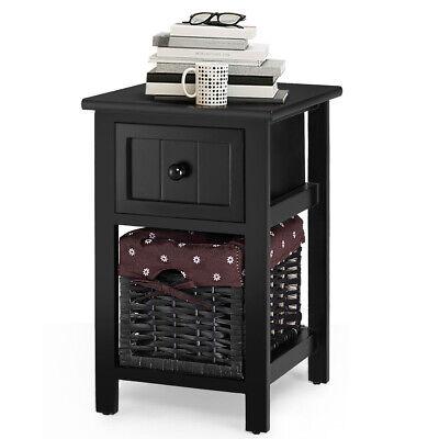 2 Tier Mini Nightstand 1 Drawer Bedside End Table Organizer Wood W/Basket Black (1 Drawer Bedside Table)