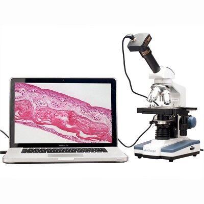 Amscope 40x-2000x Led Monocular Digital Compound Microscope W 3d Stage 5mp Cam