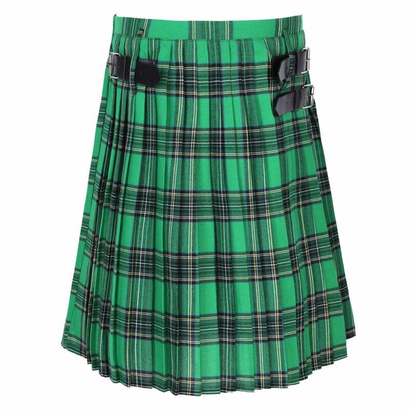 iEFiEL Gonna Scozzese Bambine Ragazza Mini Kilt Skirt con Fibbia Royal Stewart Tartan Gonna Plaid da Scuola a Pieghe Minigonna Uniforme Scolastica a Vita Alta Elastica