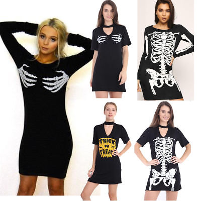 New Ladies Halloween Skeleton Print Bodycon Choler Neck T Shirt Dress UK - Skeleton Halloween Dress
