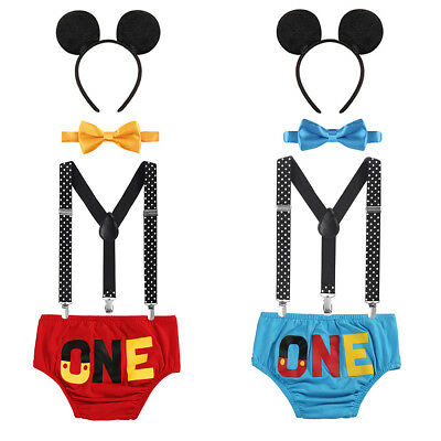 Mickey Maus Kostüm Baby Jungen 1. Erster Geburtstag Party Fotoshooting Outfit  ()
