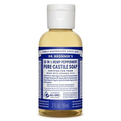 Dr. Bronner's Hemp Peppermint Pure Castile Soap 2oz / 59ml for face and -
