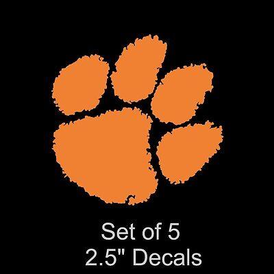Clemson University Tigers Set of 5 Orange Decals Stickers Paw Print