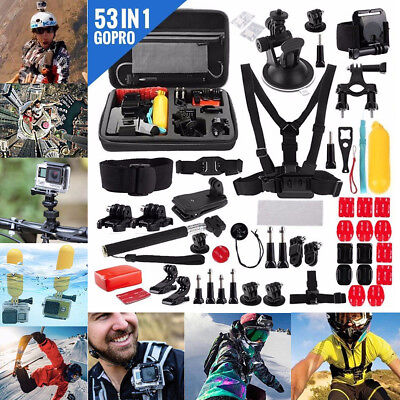 53pcs/Set Action Camera Accessories Kit For GoPro Hero Video Cam Mount Case Free