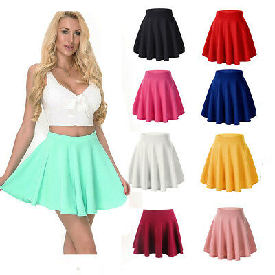 Solid Circle Skirt - Women Girls Skater Skirt Pleated Flared A Line Circle Elastic Stretch Waist USA