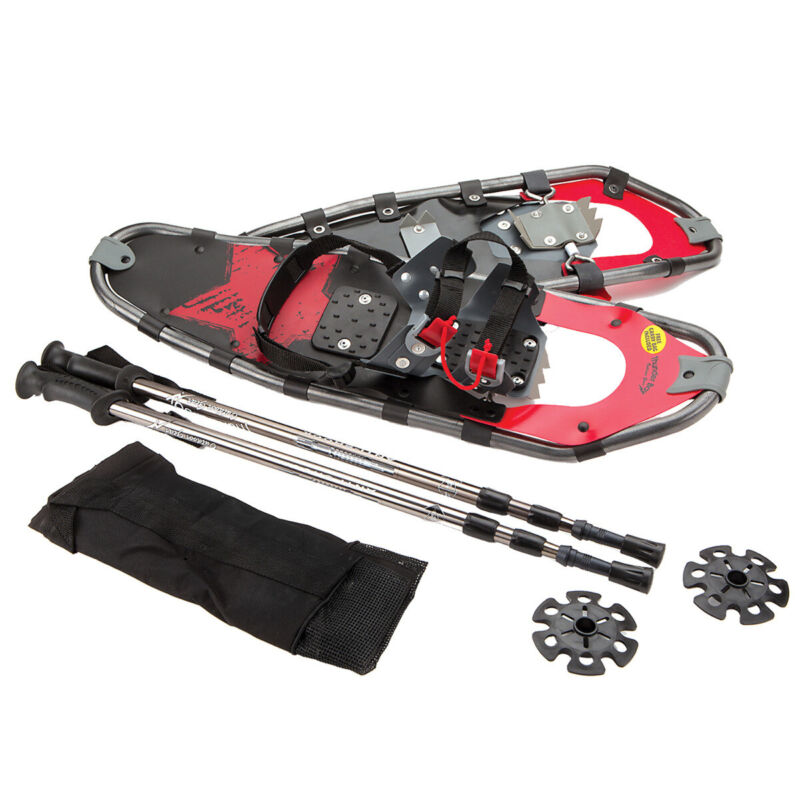 "28"" Snowshoes Aluminum w/ Carry Bag and Trekking Poles for Men and Women"