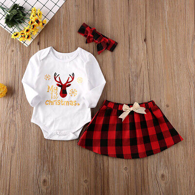 2019 My 1st Christmas Newborn Baby Girl Xmas Clothes Romper+Tutu Skirt Outfit -