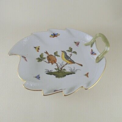 ROTHSCHILD BIRD (RO) by HEREND Porcelain  Leaf Dish (200) Serving Bowl Restored