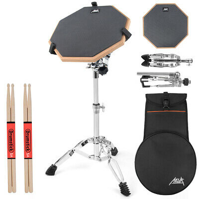 Aklot 12 Inch Snare Drum Practice Pad Double Side with Stand Sticks for Student