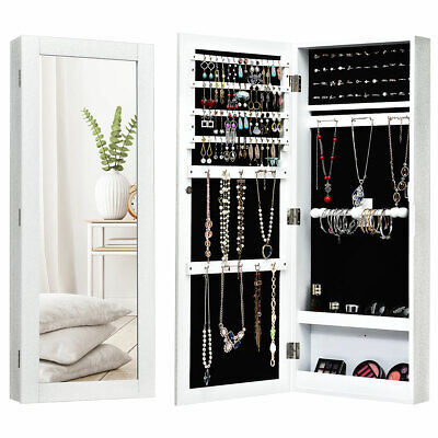 Mirrored Jewelry Cabinet Armoire Storage Organizer Wall Mounted Christmas Gift Wall Mounted Jewelry