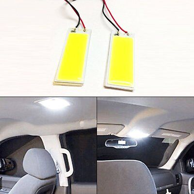 2x LED Panel Light Xenon White COB Interior Door Trunk Map Dome Bulb T10 Festoon