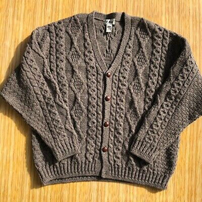 LL Bean Wool Cardigan Sweater Cable Knit Chunky Made In Ireland Brown Grey XL
