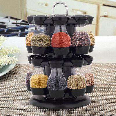 16  drehbar Gewürzregal Gewürzständer Küche Gewürzkarussell Gewürzebehälter