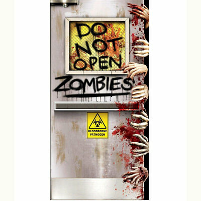 Halloween Open Door (Do Not Open Zombies Halloween Door Decoration 5 Foot)