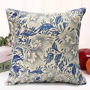 NEW 2 X Hamptons floral blue linen cushion covers 45 X 45 cm Atwell Cockburn Area Preview