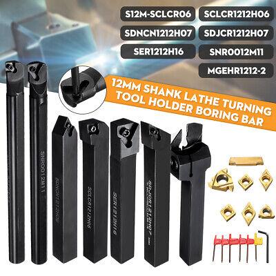 7 Set 12mm Lathe Turning Tool Holder Boring Bar W Dcmtccmt Carbide Inserts
