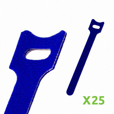 6 Inch Hook And Loop Reusable Strap Cable Cord Wire Ties 25 Pack Blue