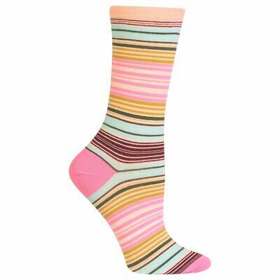 Serape Stripe Hot Sox Women's Crew Socks Blush New Colorful Novelty Fashion