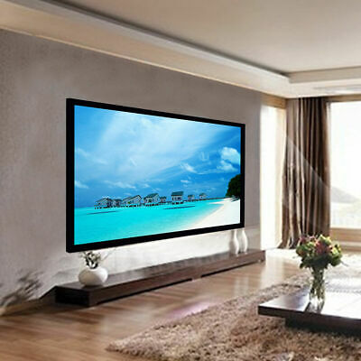 """100"""" Aluminum Fixed Frame 16:9 Projector Screen Velvet Matte White Home Theater"""