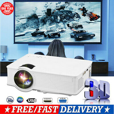 Portable Mini LED Projector 3D FULL HD 1080P LED Home Cinema HDMI AV USB VGA UK