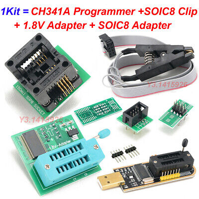 Eeprom Bios Usb Programmer Ch341a Soic8 Clip 1.8v Adapter Soic8 Adapter Kit