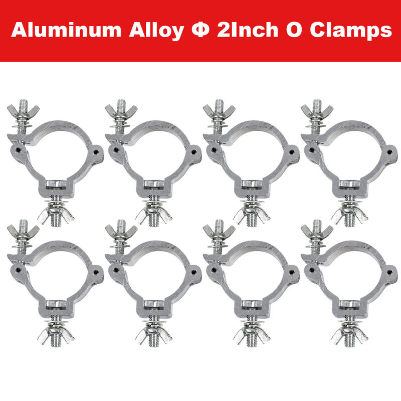 8PCS 2Inch Stage Par Light O Clamps Aluminum DJ Truss Can Hook Fit 48-51mm Pipe