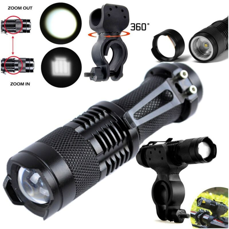 360° Mount Clip Holder For Q5 LED Bike Bicycle Waterproof Head Light Zoomable