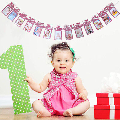 US! DIY Monthly One Year Baby Photo Banner Birthday Shower PartyFlag HanginDecor