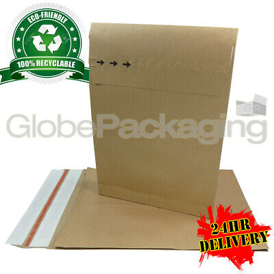 500 x STRONG RECYCLABLE KRAFT POSTAL PAPER MAILING BAGS 250x352x40mm (10x14x2