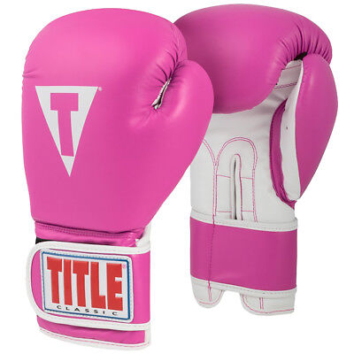 Title Boxing Classic Pro Style 3.0 Training Gloves - 12 oz. - Hot Pink/White