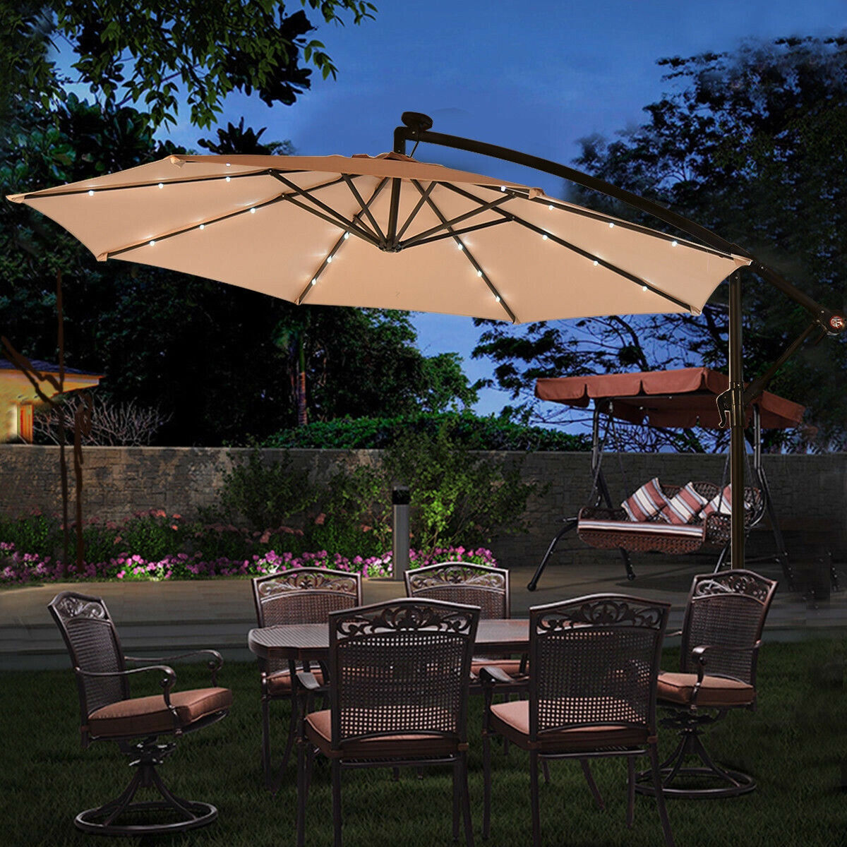 10ft Outdoor Solar LED Panel Light Patio Offset Umbrella Sta